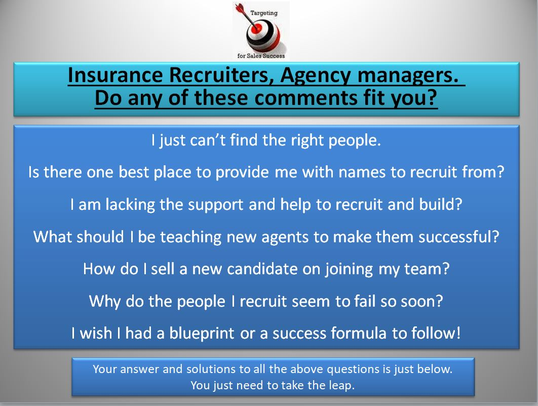 Insurance recruiters and agency builders. Here is a proven and tested system that can help you in your recruiting and agency building day to day activities.